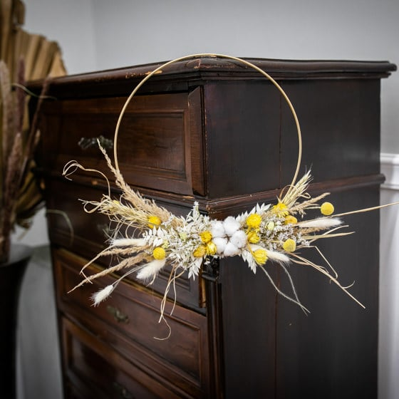 Dry_Flower_Loop_Gold_Ring_Gelb_Yellow_Wandschmuck_Kranz (6)
